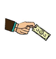 Hand business man holding banknote money image vector