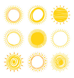 hand drawn sun icons vector image