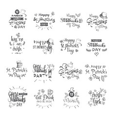 happy st patrick day calligraphy set hand drawing vector image