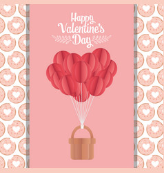 happy valentines day origami paper balloons with vector image