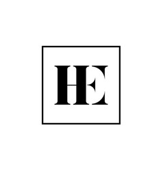 he initial eh letter logo type mark icon vector image