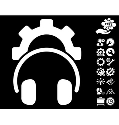 Headphones configuration gear icon with vector