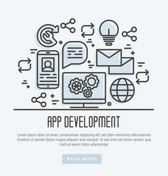icons mobile app development process thin line vector image