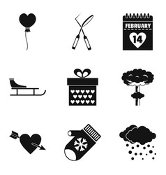 Icy cold icons set simple style vector
