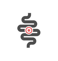 Intestines ache or problem glyph icon vector