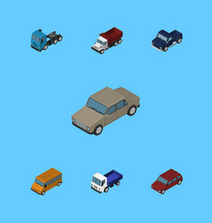 Isometric automobile set of truck freight suv vector
