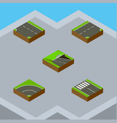 Isometric road set of bitumen underground down vector