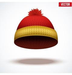 Knitted woolen cap Winter seasonal colorful hat vector