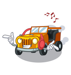 Listening music jeep car toys in shape character vector