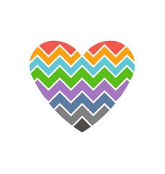 love heart chevron style logo vector image