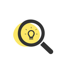 Magnifying glass looking for an idea isolated web vector