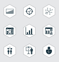 management icons set with business goals vector image