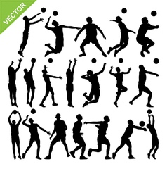 Men volleyball player silhouettes vector image