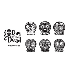 Mexican sugar skull collection in black and white vector