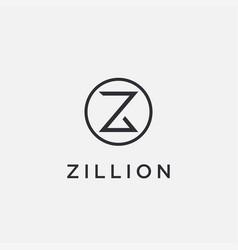 minimalist letter z logo icon on white background vector image
