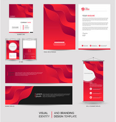 Modern stationery mock up set and visual brand vector
