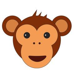 monkey head in cartoon flat style vector image