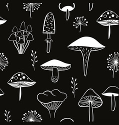 mushrooms seamless pattern black and white vector image vector image