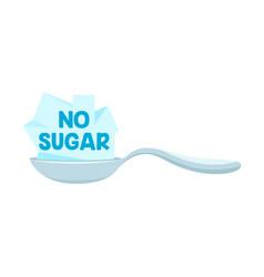 No sugar icon with spoon and sweet cane sugar vector