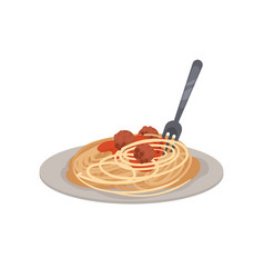 Pasta with meatballs on a plate vector