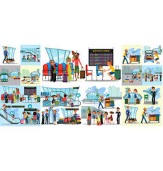 people in airport flat color icons set of pilot vector image