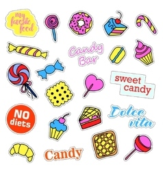 Pop art set with fashion patch badges Sweets vector image