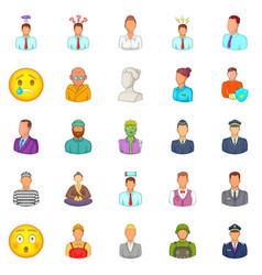 Population icons set cartoon style vector