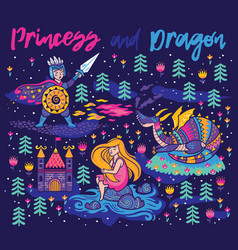 Princess and dragon art magic fantasy print vector