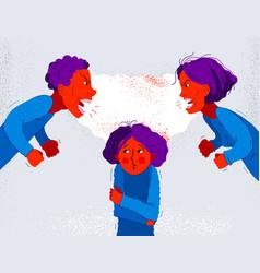 Quarrel between parents make child suffer little vector