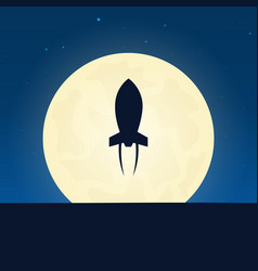 rocket silhouette banner with moon on the night vector image