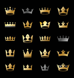 Royal crowns ancient emblems elements set vector