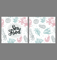 sea food lettering and seamless pattern shell vector image