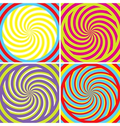 set four bright hypnotic poster vector image