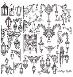 Set of calligraphic decorative lamps elements vector