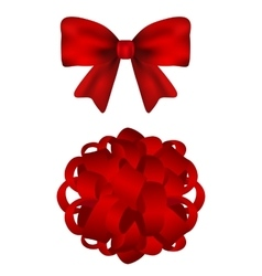 Set of red bows on a white background vector