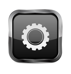 settings button black glass 3d icon vector image