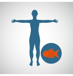 silhouette man fish food design vector image