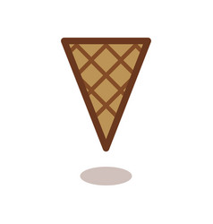 Simple wafer ice cream cone outline icon linear vector