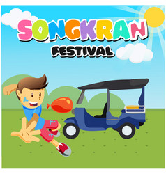 songkran festival kid playing water tuk tuk backgr vector image