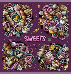 Sweet food cartoon doodle designs set vector