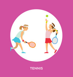 tennis play two girls playing english sport game vector image