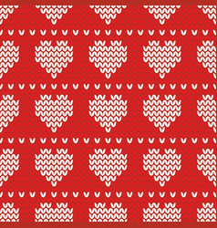 tile knitting pattern with white heart on red vector image