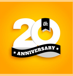 twenty years anniversary logo with black ribbon vector image