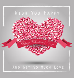 valentine heart concept of roses with pink ribbon vector image