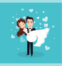 Wedding celebration bride and groom couple vector