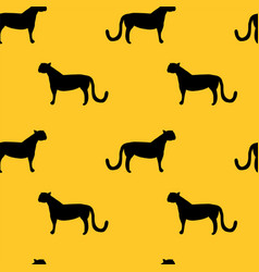 wild cat silhouettes seamless pattern vector image