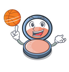 With basketball blush on a cartoon makeup bag vector