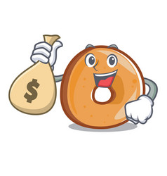 With money bag bagels character cartoon style vector