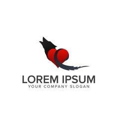 wolf love logo design concept template vector image