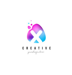 X letter dots logo design with oval shape vector